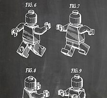 LEGO Minifigure US Patent Art Mini Figure blackboard by geekuniverse