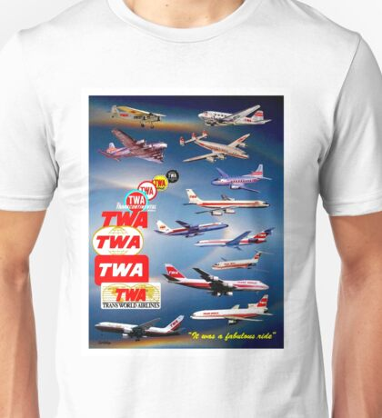 """TWA AIRLINES"" Vintage Airplane Travel Print Unisex T-Shirt"