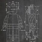 LEGO Minifigure US Patent Art Mini Figure blackboard by Steve Chambers