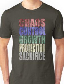 Chaos, Control, Growth, Protection, & Sacrifice Unisex T-Shirt