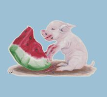 Pig Eating Watermelon One Piece - Short Sleeve