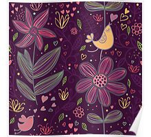 Whimsical Birds, Hearts, String Flowers Poster