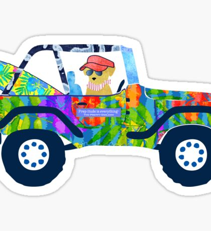Preppy Jeep Golden Retriever Puppy - Island Beach Vacation Sticker