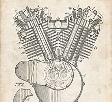 Harley Motorcycle Engine US Patent Art 1923 Harley-Davidson V-Twin by Steve Chambers