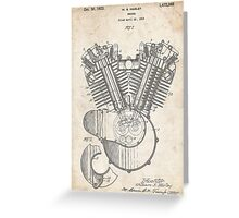 Harley Motorcycle Engine US Patent Art 1923 Harley-Davidson V-Twin Greeting Card