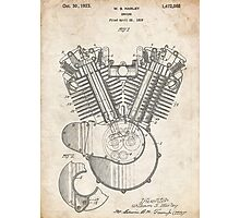 Harley Motorcycle Engine US Patent Art 1923 Harley-Davidson V-Twin Photographic Print