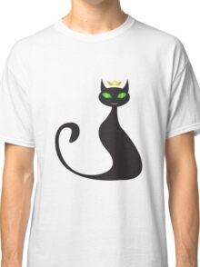 Black cat with crown Classic T-Shirt