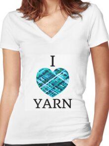 I Love Yarn -Aqua Women's Fitted V-Neck T-Shirt