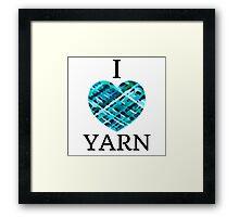 I Love Yarn -Aqua Framed Print