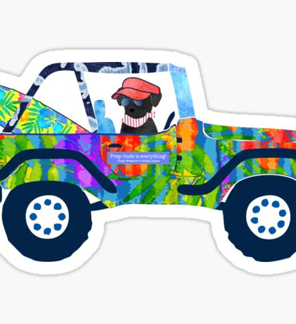 Preppy Jeep Black Lab Puppy - Island Beach Vacation Sticker