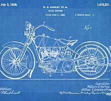 Harley-Davidson Motorcycle US Patent Art 1928 blueprint by Steve Chambers