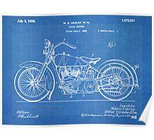 Harley-Davidson Motorcycle US Patent Art 1928 blueprint Poster