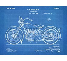 Harley-Davidson Motorcycle US Patent Art 1928 blueprint Photographic Print