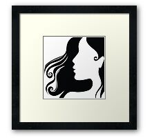 Woman hair style profile art Framed Print