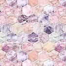 Rose Quartz and Amethyst Stone and Marble Hexagon Tiles by micklyn