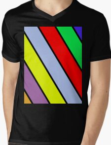 Vibrant Stripes Mens V-Neck T-Shirt