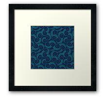 Navy and Teal Ocean Swirls Framed Print