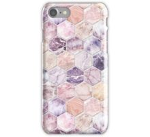 Rose Quartz and Amethyst Stone and Marble Hexagon Tiles iPhone Case/Skin