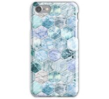 Ice Blue and Jade Stone and Marble Hexagon Tiles iPhone Case/Skin