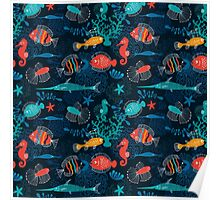 Tropical Fish Under the Sea Poster