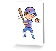 Sports people playing cricket cartoon Greeting Card