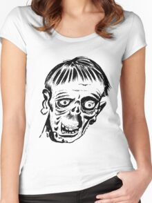 Crazy Zombie Head Women's Fitted Scoop T-Shirt