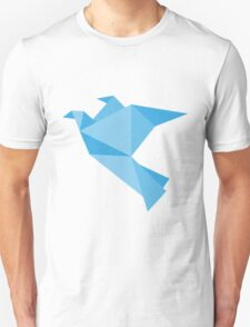 Blue paper bird flying Unisex T-Shirt