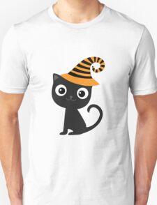 Black cat wearing hat Unisex T-Shirt