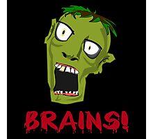 Crazy Green Zombie Needs Brains Photographic Print