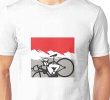 Cyclocross Athlete Running Carrying Bike Alps Retro Unisex T-Shirt