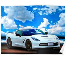 Corvette C-7 Day at the Beach! Poster