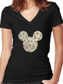 Mouse Daisy Patterned Silhouette Women's Fitted V-Neck T-Shirt