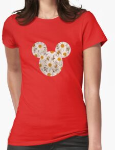 Mouse Daisy Patterned Silhouette Womens Fitted T-Shirt