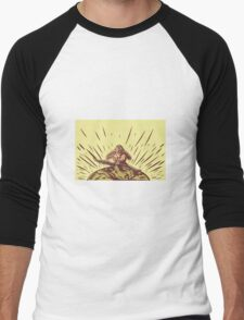 Tagaloa Releasing Bird Plover Earth Woodcut Men's Baseball ¾ T-Shirt