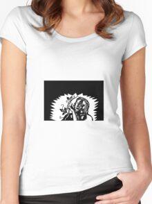 Samoan God Tagaloa Holding a Vine Woodcut Women's Fitted Scoop T-Shirt