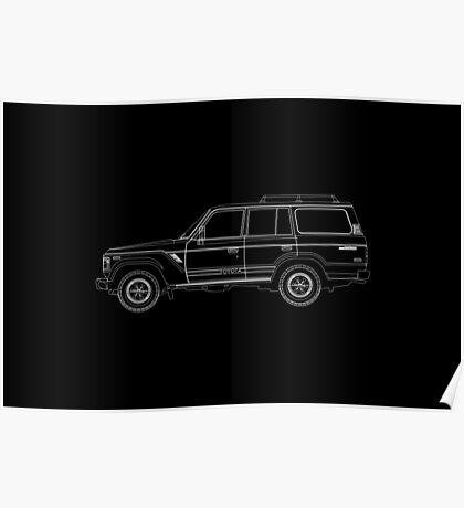 Toyota Land Cruiser FJ61 Outline Poster