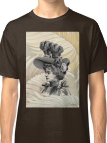 Victorian Woman White Feathers Hat Classic T-Shirt