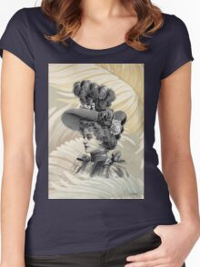Victorian Woman White Feathers Hat Women's Fitted Scoop T-Shirt