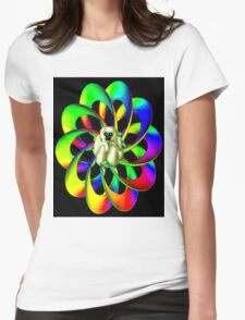 """""""MONKEY IN THE SPHERE"""" Psychedelic Art Deco Print Womens Fitted T-Shirt"""