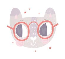 Girls Kitty Face Design 3 by Claire Stamper