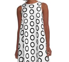 Repeating Ring Pattern Duvet - Black Circle Design A-Line Dress