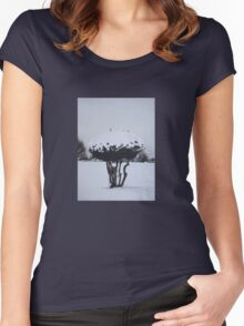 Christmas snow landscape scenic original art  Women's Fitted Scoop T-Shirt