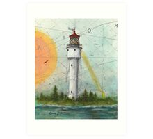 Devils Island Lighthouse WI Nautical Chart Map Cathy Peek Art Art Print