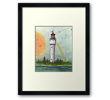 Devils Island Lighthouse WI Nautical Chart Map Cathy Peek Art Framed Print