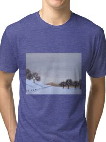 Rural snow scene landscape art for christmas  Tri-blend T-Shirt