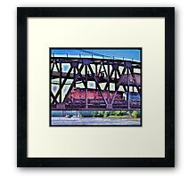 Train On The Bridge Framed Print