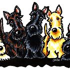 Fabulous Five Scotties by offleashart
