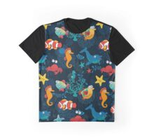 Cute Cartoon Fish Undersea Adventure Graphic T-Shirt