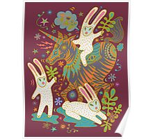Three Rabbits and a Unicorn Poster