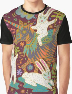 Three Rabbits and a Unicorn Graphic T-Shirt